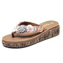 Wedges Slippers Flower Sandals Flip-Flops Slides Luxury Fashion Women Summer Ladies Floral