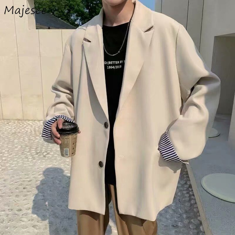 Blazers Men Leisure British style Trendy Loose All match Simple Korean Suit tops Male Single breasted Retro Daily Ins Streetwear