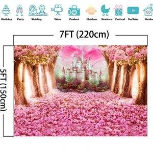 Image 3 - Laeacco düğün Photophone doğum günü yenidoğan arka Wonderland orman pembe çiçekler ağacı kale prenses fotoğraf Backdrop