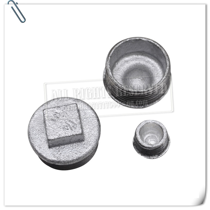 """3//8/"""" Square Head Plug Galvanised Malleable Iron Pipe Fitting BSP"""