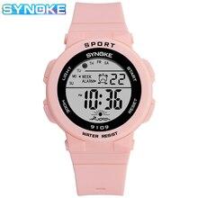 Synoke Children% 27 Часы Мода Симпатичные Электронные Часы Цифровые Часы Будильник Спорт Водонепроницаемый Светодиод Студент Наручные часы для Мальчика Девочки