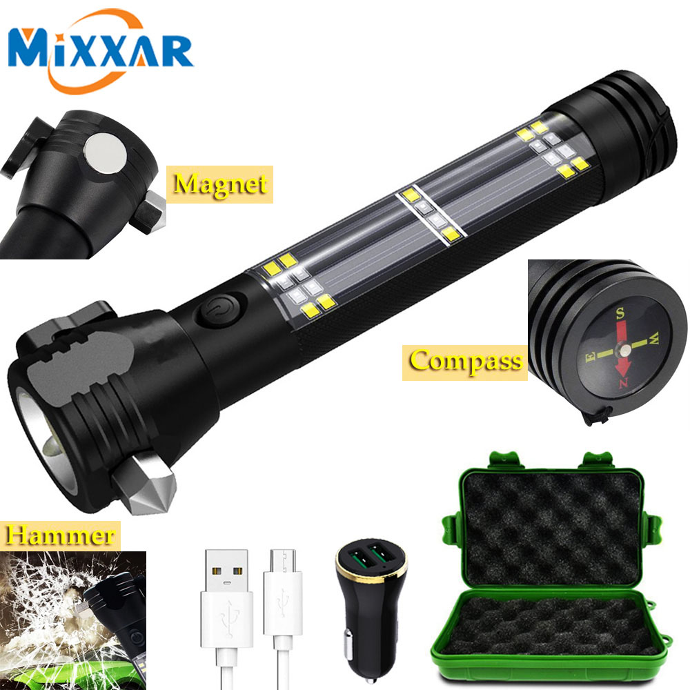 Dropship Car Flashlight Solar Flashlight USB Rechargeable Tactical 7 Mode Multi function Torch bright Compass Power Bank Magnet|LED Flashlights| - AliExpress