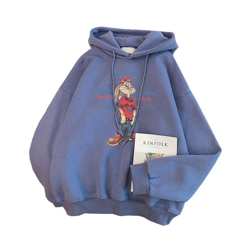 Zuolunouba 2020 New Spring Autumn Casual Fleece Coat Cartoon Bunny Pullovers Hat Harajuku Blue Hoodies Women Sweatshirts Loose