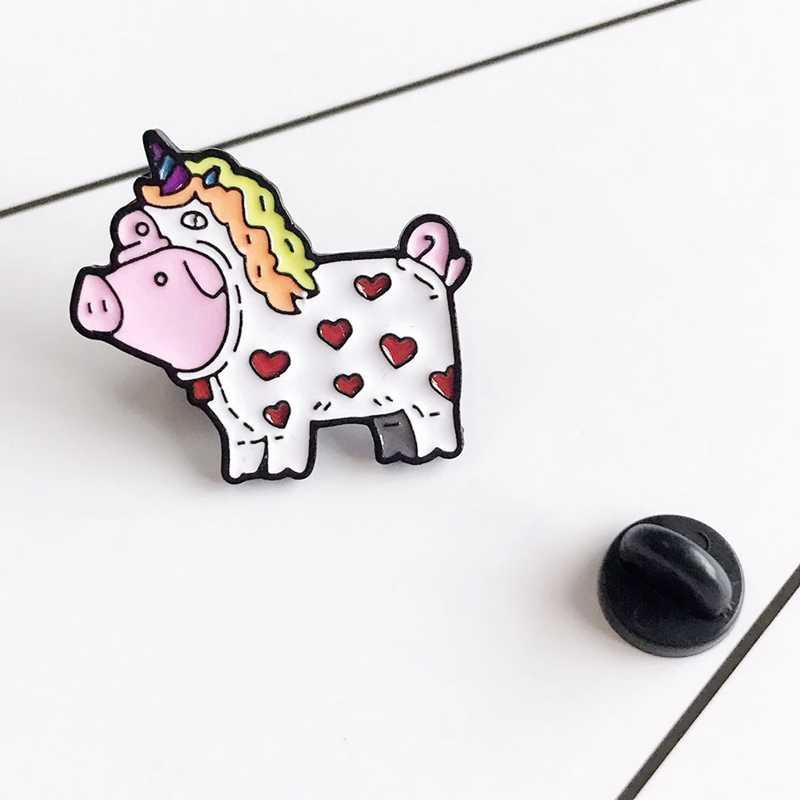 "Kreatif Kartun ""Babi untuk Menjadi Unicorn Babi"" Warna Bros untuk Wanita Fashion Enamel Bros Denim Jaket lencana Perhiasan"
