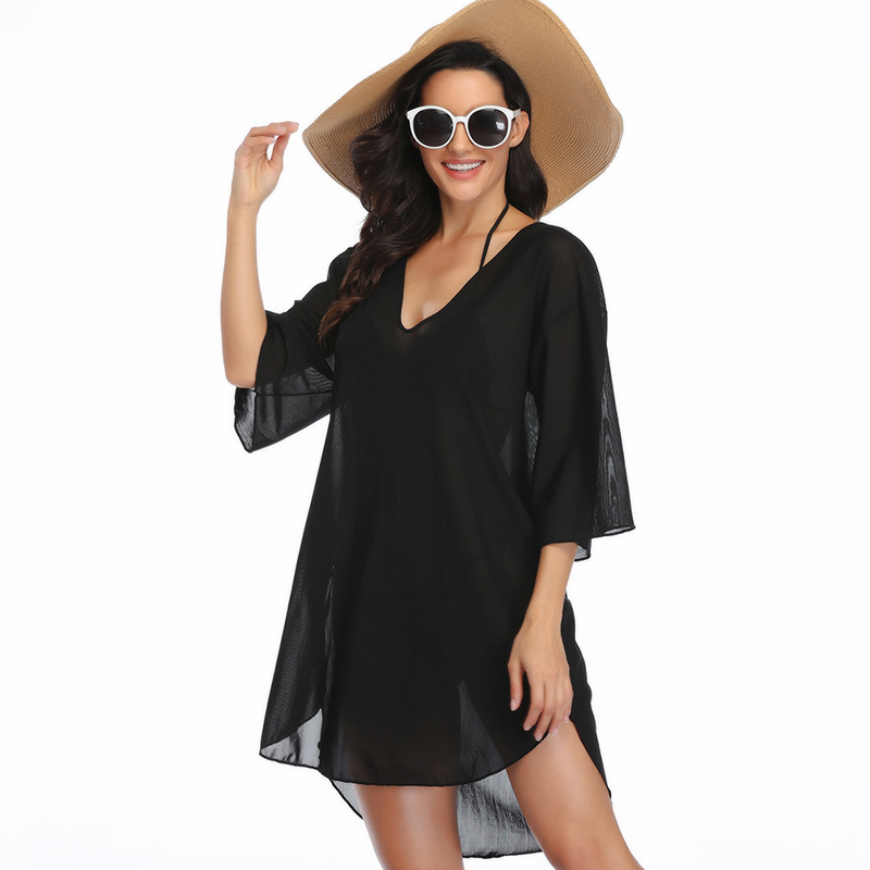 Новинка 2020, шифоновое пляжное платье с кисточками, женский купальный костюм, купальный костюм, накидка, туника, стринги, блузки, женский купа...