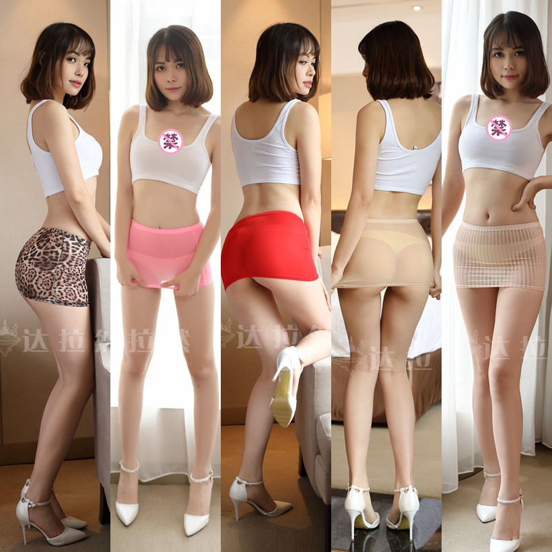 New Mini Skirt Slim Candy-colored 10-color Optional Qi Bing Silk Skirt Transparent Mini Skirt One-step Dress Solid Color