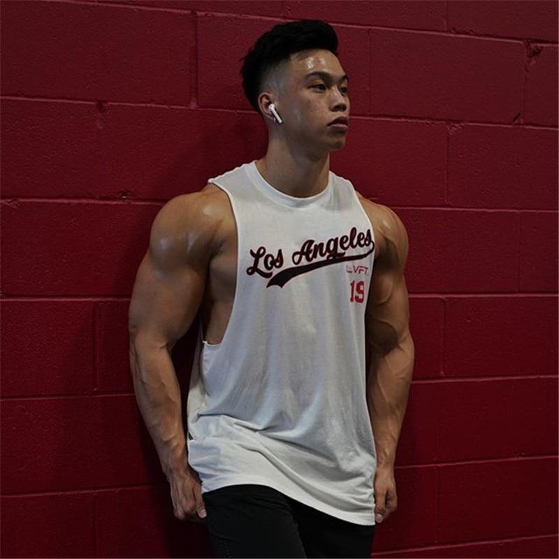 Camiseta regata sem mangas musculação masculina, camiseta