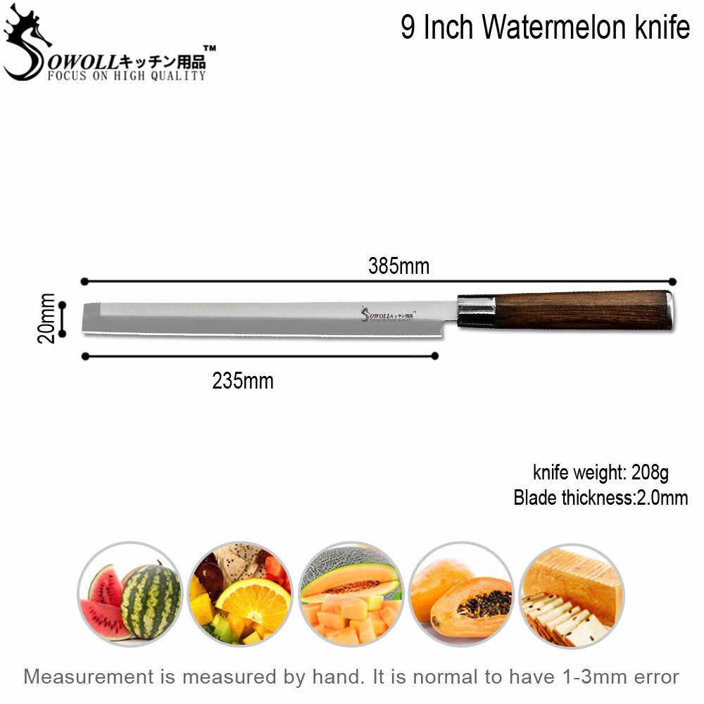 Sowoll 9 ''Wassermelone Messer Edelstahl Küche Slicer Messer 7Cr17 Wassermelone Cutter Fisch Rindfleisch Schneiden Werkzeuge