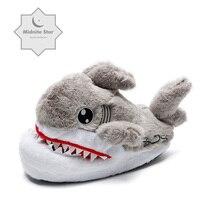 2019 Winter Warm Soft indoor floor Slippers Women Men Children Shoes Paw Funny Christmas Monster Shark Plush Home Shoes 35 43