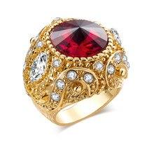 Joyería Vintage anillo de mujer de circón azul grande anillos de boda con cristal de lujo para mujer Boho anillos grandes verdes para mujer anillo de compromiso dorado