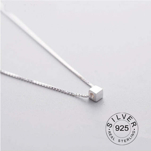 925 Sterling Silver Single Small Box Necklace Pendant Clavicle Chain Female Design Simple Short Paragraph Wild Korean Students