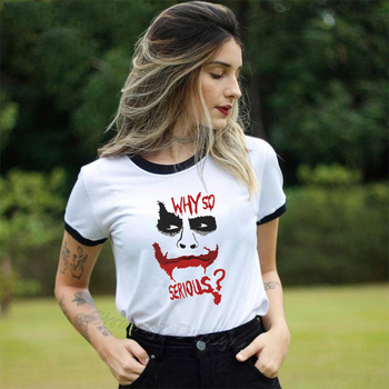 Why So Serious Heath Ledger Joker t shirt Women The Dark Knight Female T-shirt Halloween Tee Shirt Homme Vintage Streetwear Tops 1 4 scale joker heath ledger head