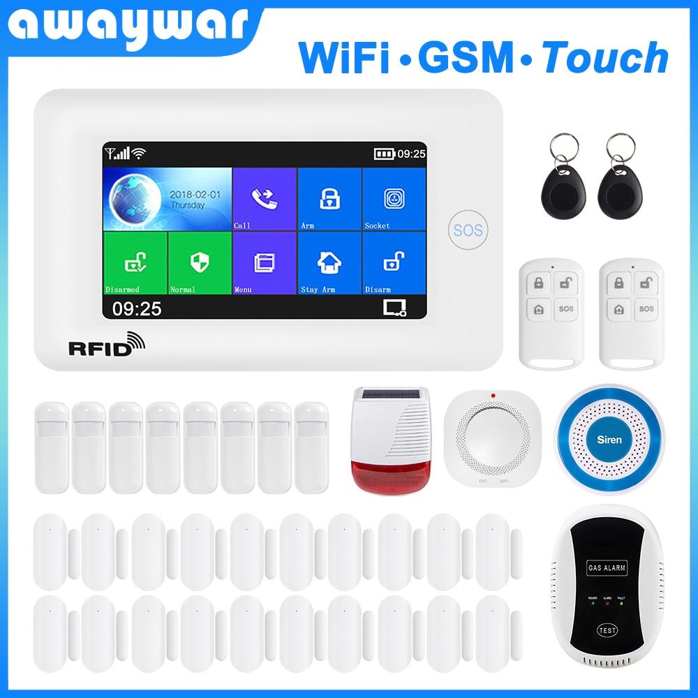 Awaywar wi fi gsm sistema de alarme segurança em casa inteligente kit 4.3 polegada touch screen app controle remoto rfid braço desarmar