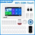 Awaywar wifi GSM домашняя охранная смарт-сигнализация комплект 4,3 дюймов сенсорный экран приложение дистанционное управление RFID Arm Disarm