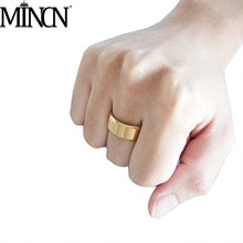 MINCN mens stainless steel ring 5 colors titanium men and women fashion spot can be lettering