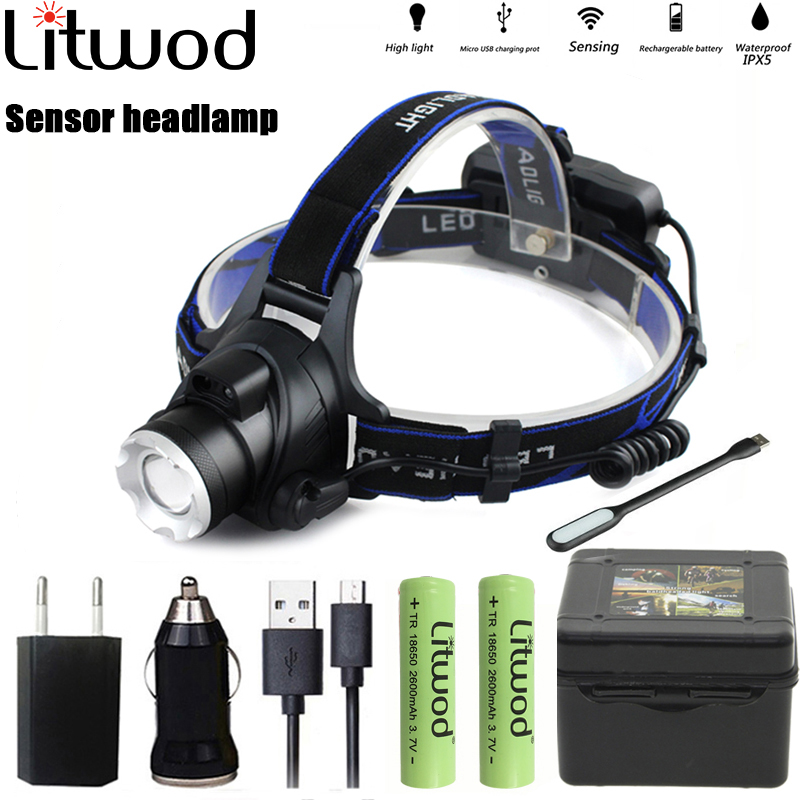 Fishing Headlights Headlamp Camping Hiking Flashlight Waterproof Led Bulbs Litwod Lantern Xml T6 Lithium Ion Rechargeable Xm-l2