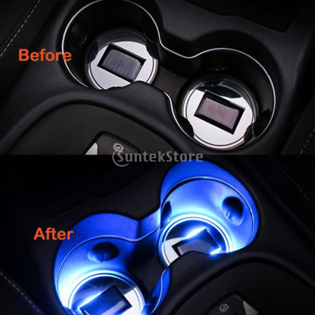 2Pcs LED Car Cup Holder Bottle Pad Mat Auto Interior Atmosphere Blue Lights Lamp