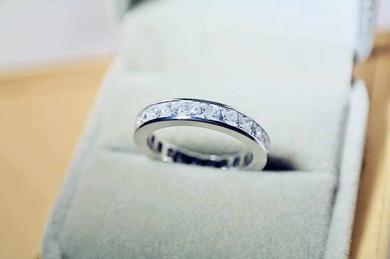 מוצק רסיס 925 סטרלינג VS2 יהלומי טבעת סט לנשים Anillos Bizuteria חן אירוסין כסף 925 תכשיטי טבעת תיבת נשים