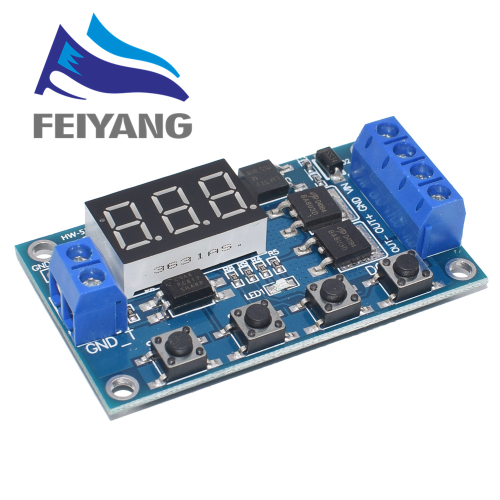 DC 12V 24V Dual MOS Tube LED Digital Time Delay Relay Trigger Cycle Timer Delay Switch Circuit Board Timing Control Module
