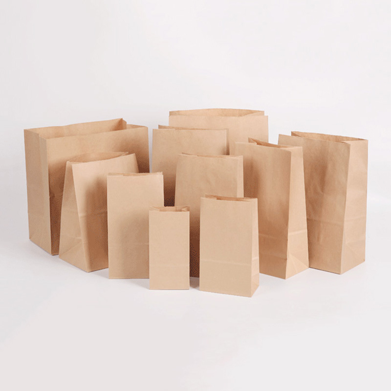 50/100/pcs/Kraft Paper Bag Snack Packaging Oil Proof Disposable Hamburger Packaging Take Out Bag Custom Bread Chicken Chop Bag