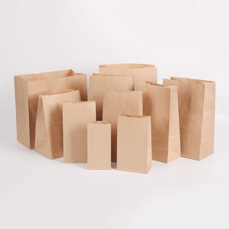 50/100/pcs/Kraft Paper Bag Snack Packaging Oil Proof Disposable Hamburger Packaging Take Out Bag Custom Bread Chicken Chop Bag