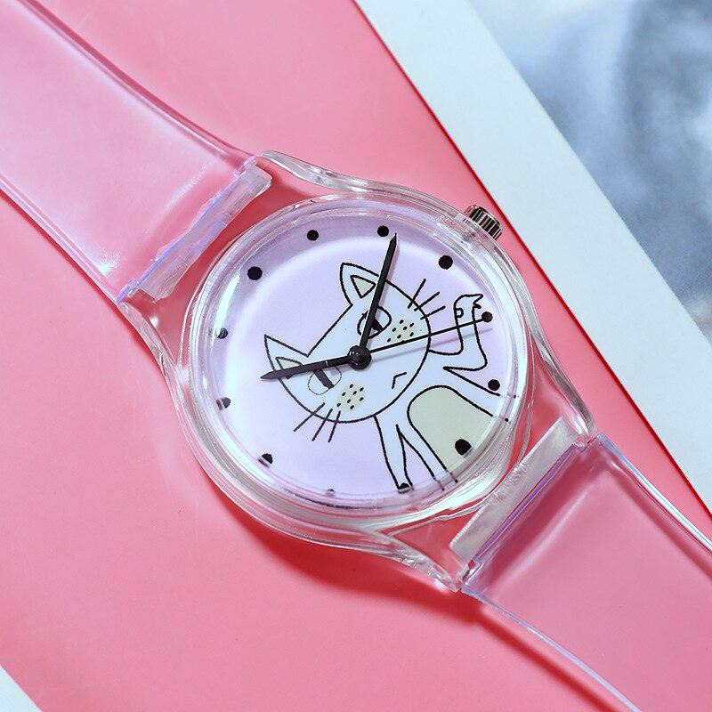 Transparent Silicone Strap Kids Watches Children Sport Quartz Wrist Watch Novelty Cartoon Bear Cat Rabbit Child Watch Baby Clock
