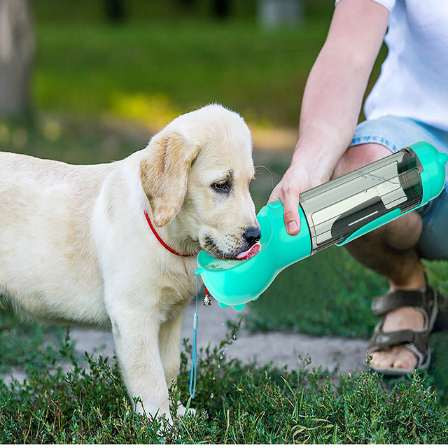 Drinker For Dogs Plastic Dog Water Bottle Portable Water Cup With 1 Roll Garbage Bag Water Dispenser For Cats Drinking Fountain 3