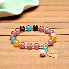 natural stone jewelry factory direct natural strawberry crystal bracelets fashion bracelet for women with Blonde stone pendant jiuduo natural colorful amber beeswax bracelet hand with women identification design factory direct special package mail