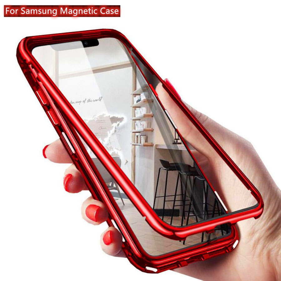Strong Magnetic Adsorption <font><b>Tempered</b></font> <font><b>Glass</b></font> <font><b>Case</b></font> For <font><b>Samsung</b></font> Galaxy S10 S20 S9 S8 Note 9 8 10 Plus A50 <font><b>A70</b></font> Metal Frame Cover Coque image