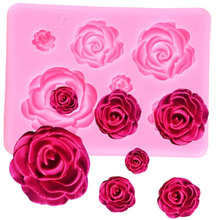 Rose Flower Silicone Molds Wedding Cupcake Topper Fondant Cake Decorating Tools Sugarcraft Candy Clay Chocolate Gumpaste Moulds cheap Mujiang Cake Tools CE EU LFGB Eco-Friendly Stocked cake mold pink 3D silicone molds rose flower fondant mold cake border decoration cupcake decorating