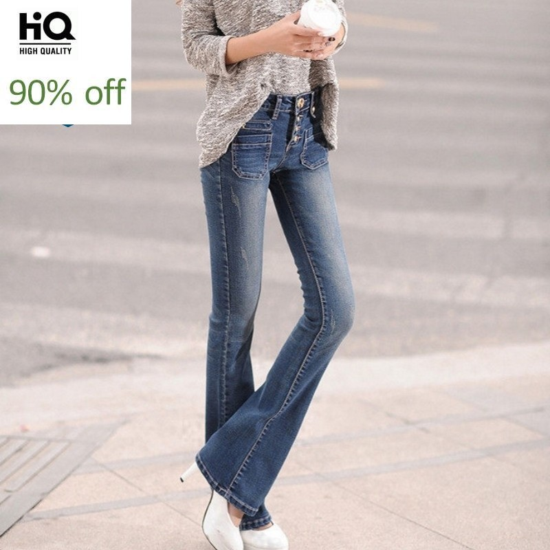 2020 New Spring Single Breasted High Waist Slim Fit Flare Pants Jeans Korean Fashion Full Length Trousers Quality Denim Pants