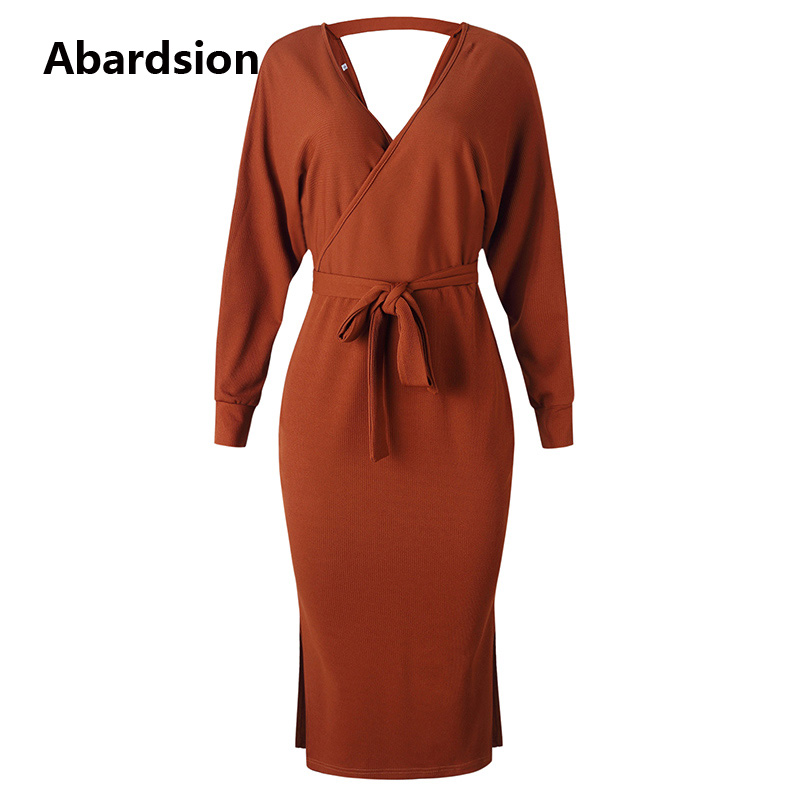 Abardsion Women Knitted Sweater Dress Wrap Belted Tunic Midi Vestidos Long Sleeve Double V Neck Split Casual Autumn Dresses 19 11