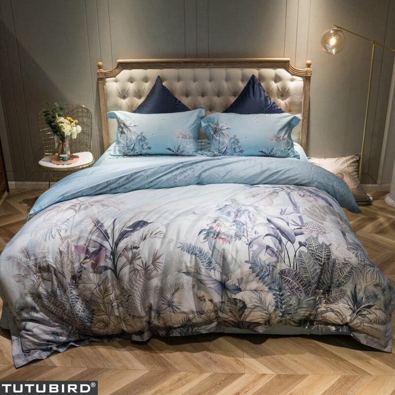 TUTUBIRD-Europeu pastoral floral roupa de cama Macia cama de Cetim de algodão Egípcio capa de edredão fronhas colchas 4pcs conjuntos