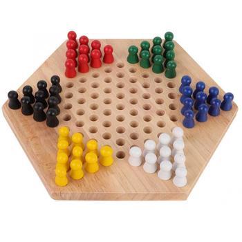 Checker cinese Set di Giochi Da Tavolo Per Bambini Educativi di Legno Classico Halma Dama Cinese Set Strategia di Gioco di Famiglia Pezzi backgammon
