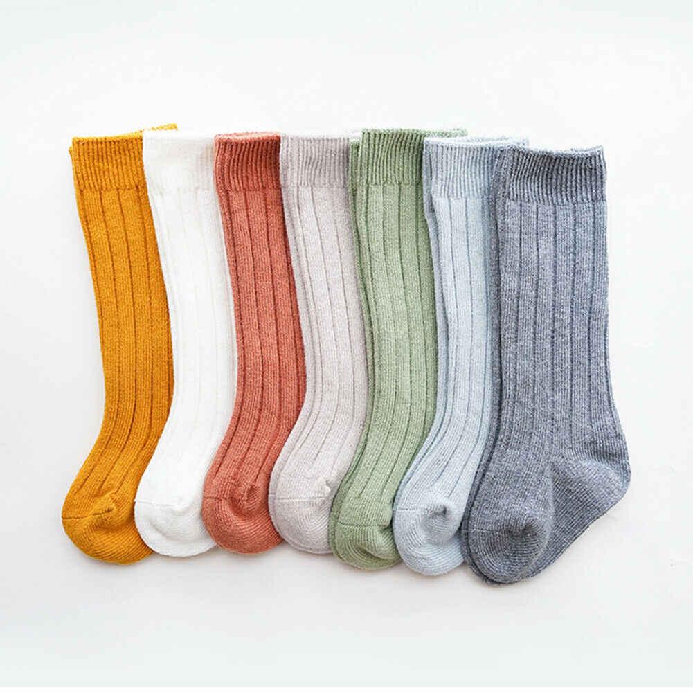 Niños bebé Infante bebé niñas niños sólido antideslizante de punto medias largas de algodón medias de rodilla
