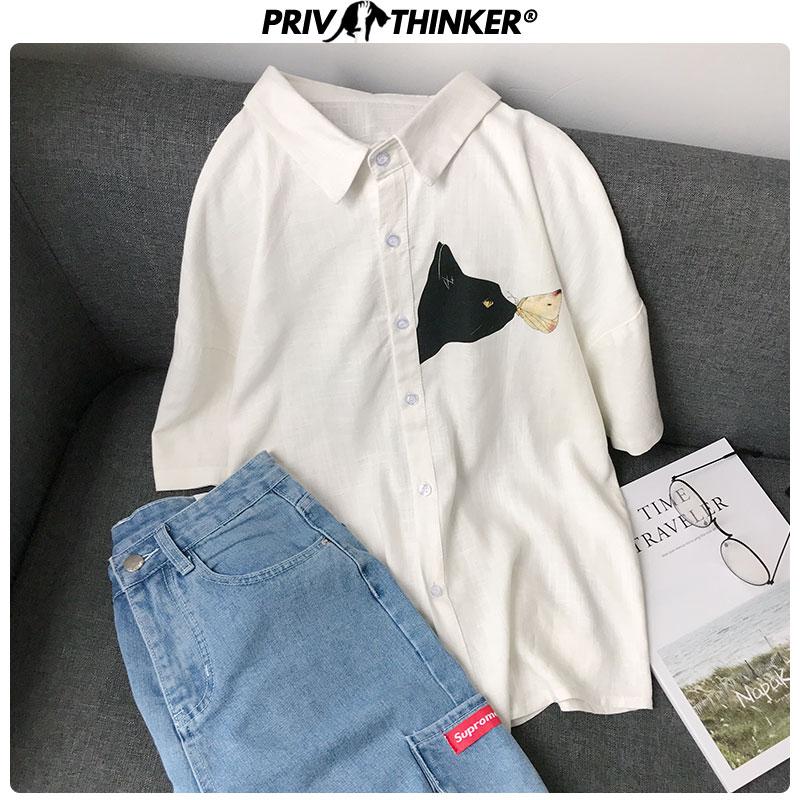 Privathinker Men's Summer Cotton Linen Shirts 2020 Korean Cat Printed  Men Harajuju Short Sleeve Blouse Male Casual Shirts