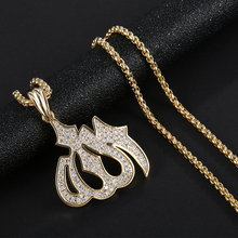 Hot Sell Religious Allah Pendant faith God Arabic Free Steel Cuban Chain Gold Color Cubic Zircon Mens Hip Hop Jewelry For Gift