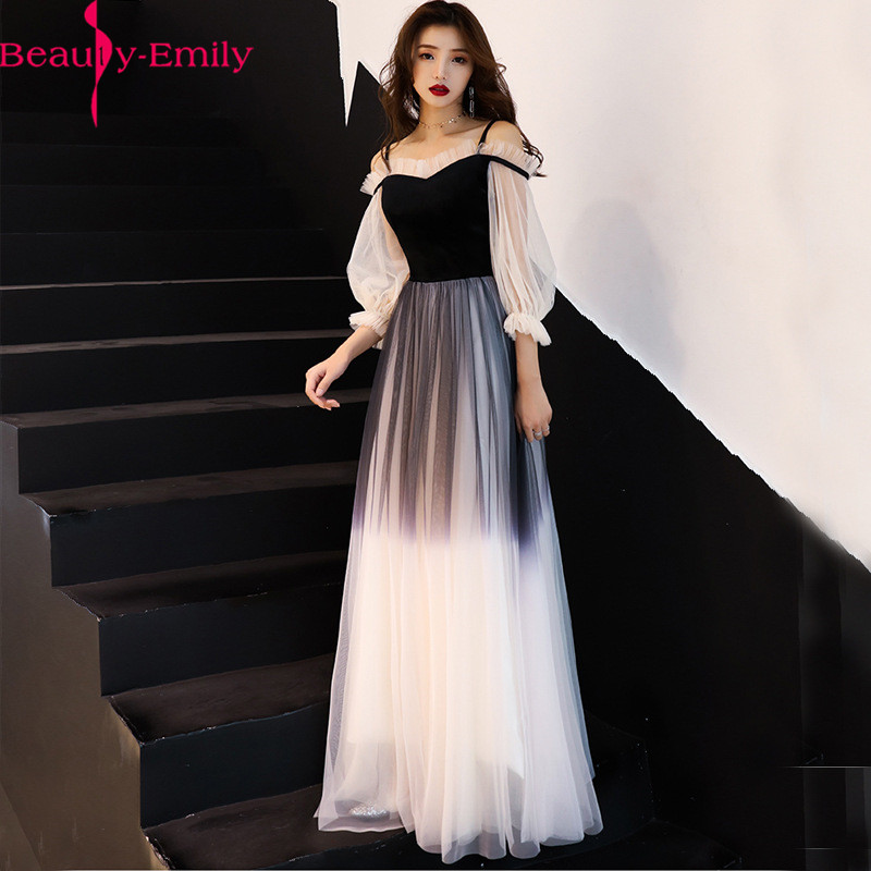 Real Photo Elegant V Neck Long Lantern Sleeve Evening Dresses 2020 New Arrival Gradient Lace Up Back Formal Party Dress