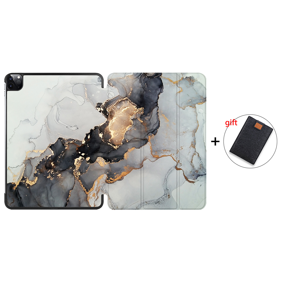 IP07 Yellow MTT 2020 Marble Tablet Case For iPad Pro 11 inch A2228 A2231 PU Leather Magnetic Fold