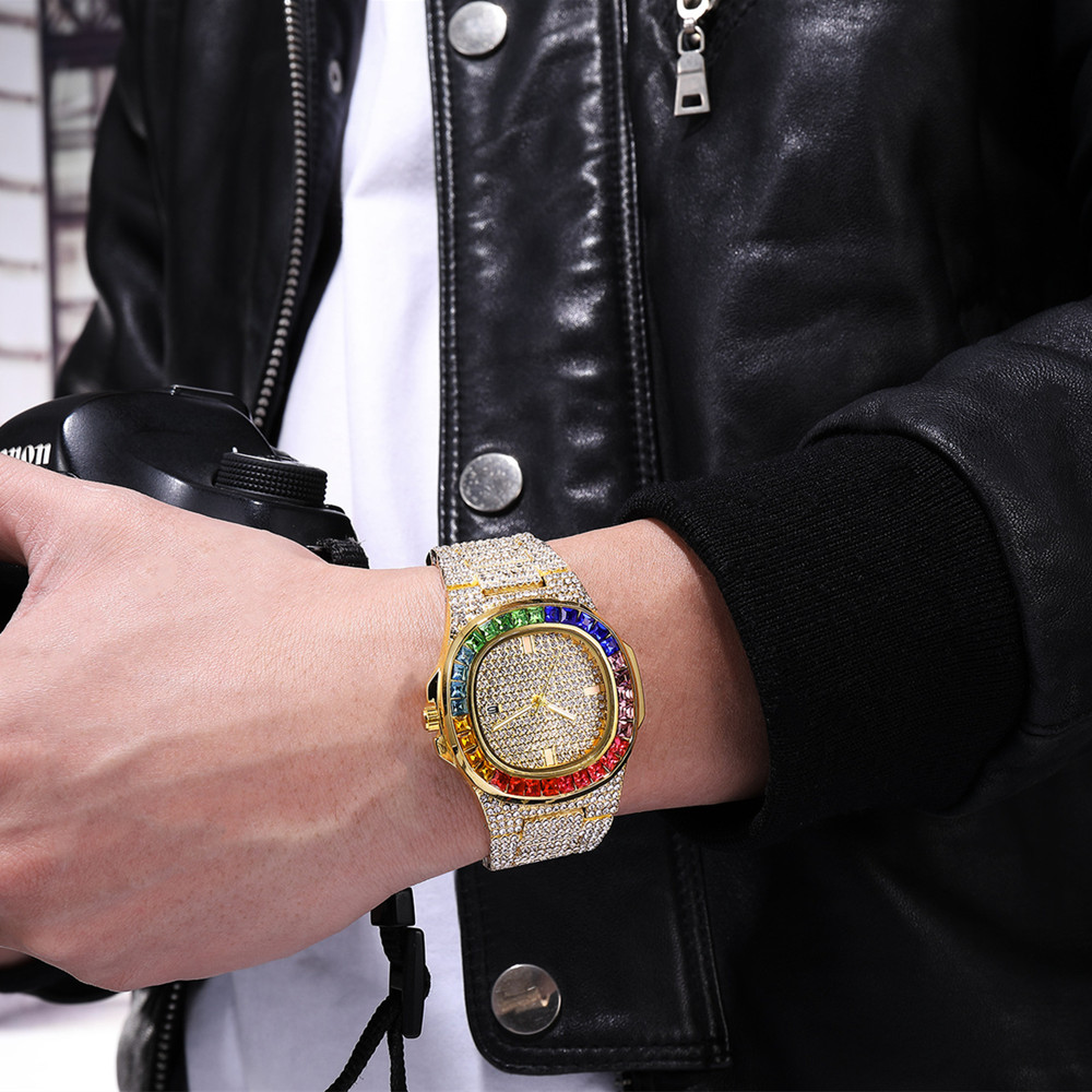 Hot Sales Men Watch High Quality Women Colorful Rhinestone Watches Luxury Sparkling Calendar Dress Watch Steel Strip Drop Ship