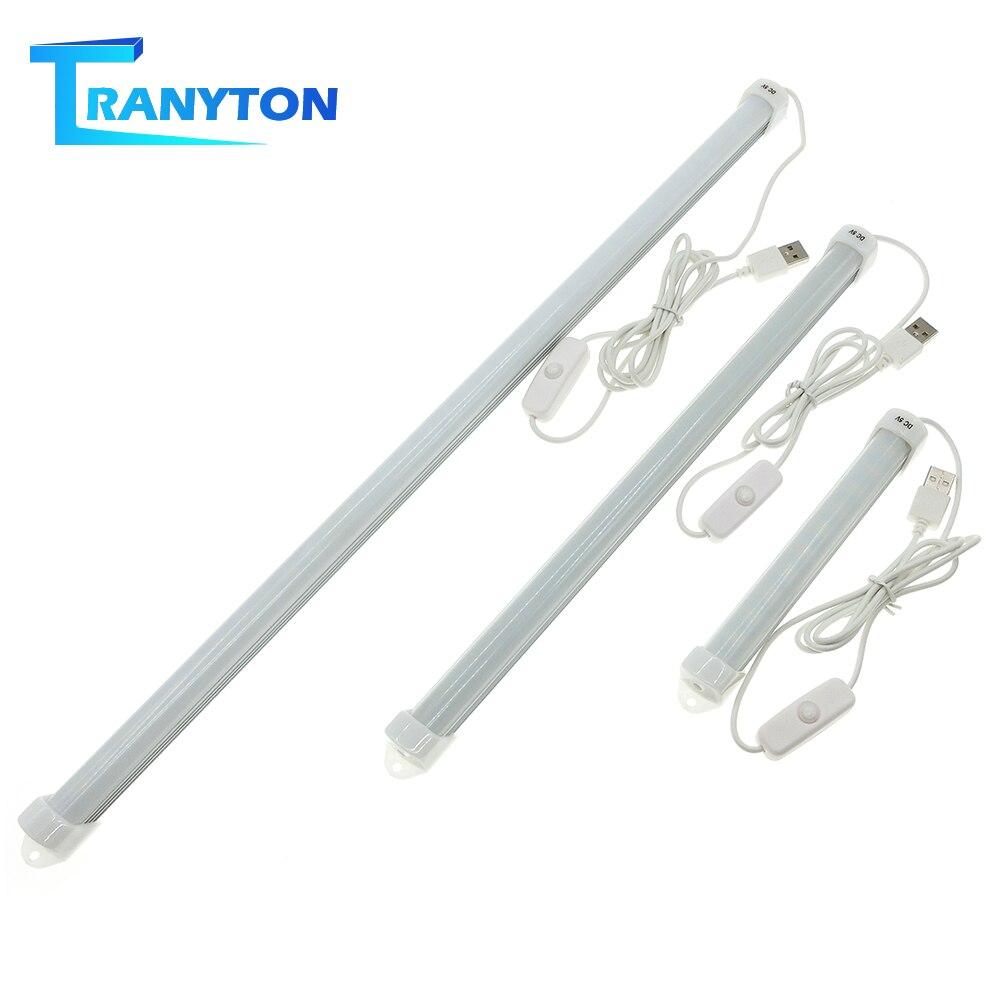 USB LED Bar Light DC5V Eyes Protection Rigid LED Tube for Cabinet Closet White Warm White Reading Lamp Night Lights with Switch