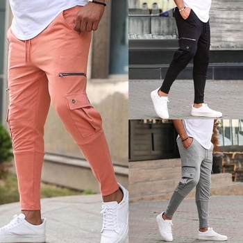 New Men Pure Cotton Joggers pants Fashionable Overalls Trousers Casual Pockets Mens Fitness Exercise Hallen Pants S-3XL