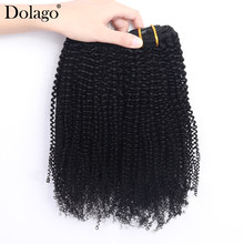Kinky Curly Clip In Human Hair Extensions Full Head Sets 100% Mongolian Virgin Human Hair Natural Black Clip Ins 120g/set Dolago(China)