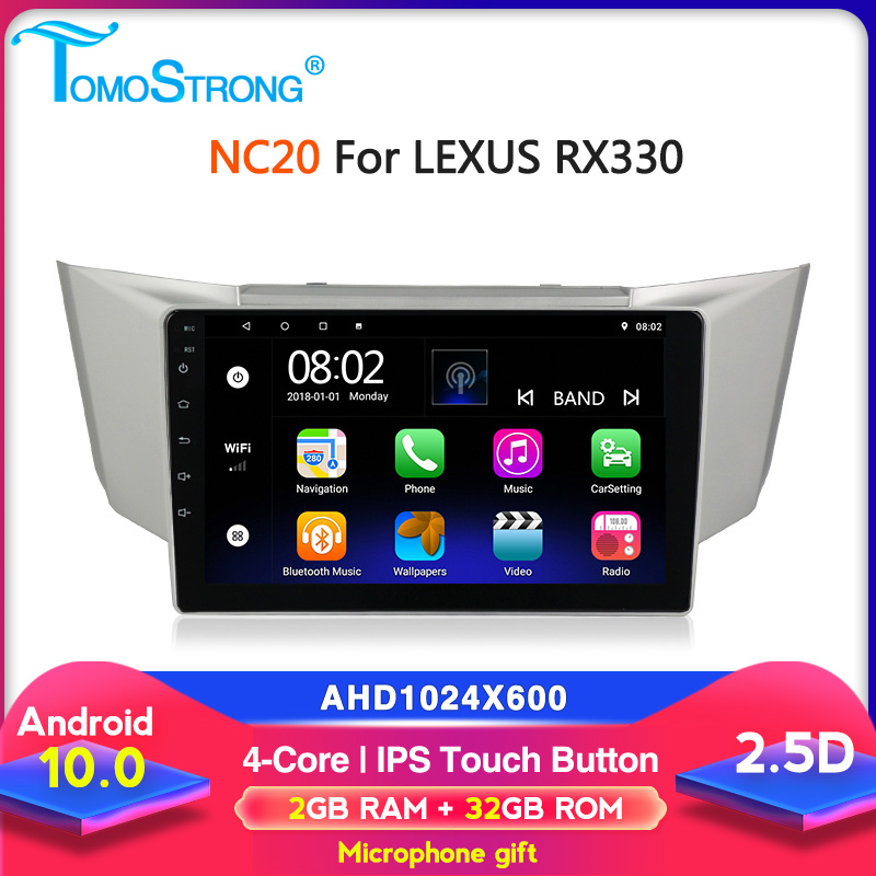 Tomostrong IPS car multimedia player For <font><b>Lexus</b></font> RX300 <font><b>RX330</b></font> RX350 2003-2009 2+32G <font><b>Android</b></font> head unit GPS Navigation image