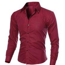 Wenyujh, мужские повседневные рубашки, осень, новая мода, одноцветные, мужские, с длинным рукавом, хлопок, приталенные, повседневные, деловые, на пуговицах, Рубашки, Топы