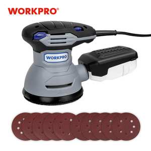 WORKPRO Random-Sander Dust-Canister Variable-Speed 300W with Orbit Hybrid 10PC