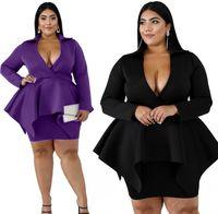 Purple black office lady dress for woman A016 V neck ruffles pleated 3XL 4XL female formal work dress plus big size 5XL 6XL