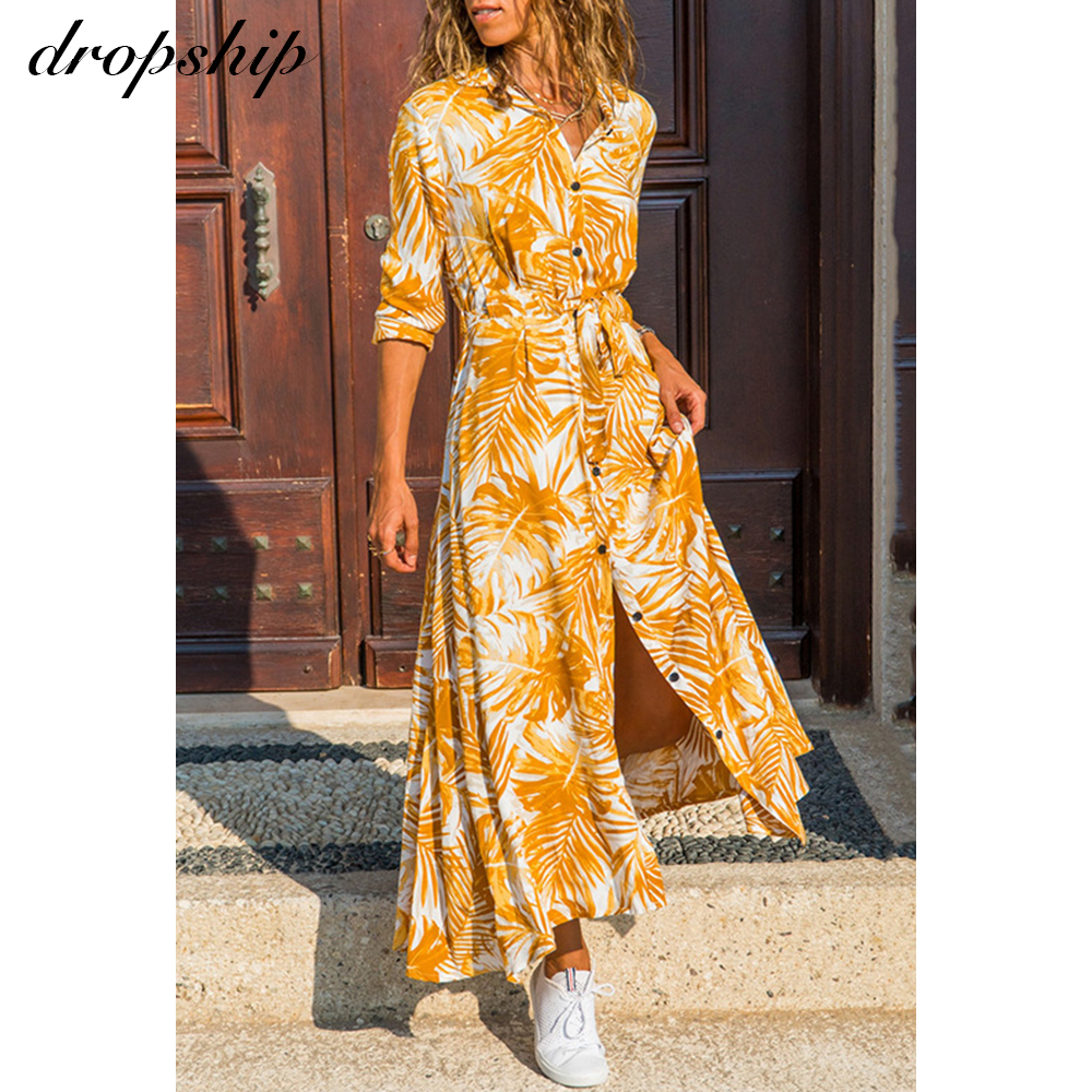 Dropship Long Sleeve Dress Casual Maxi Dresses For Women Chiffon Elegant Summer Boho Beach Plus Size Ladies Dresses Maxi