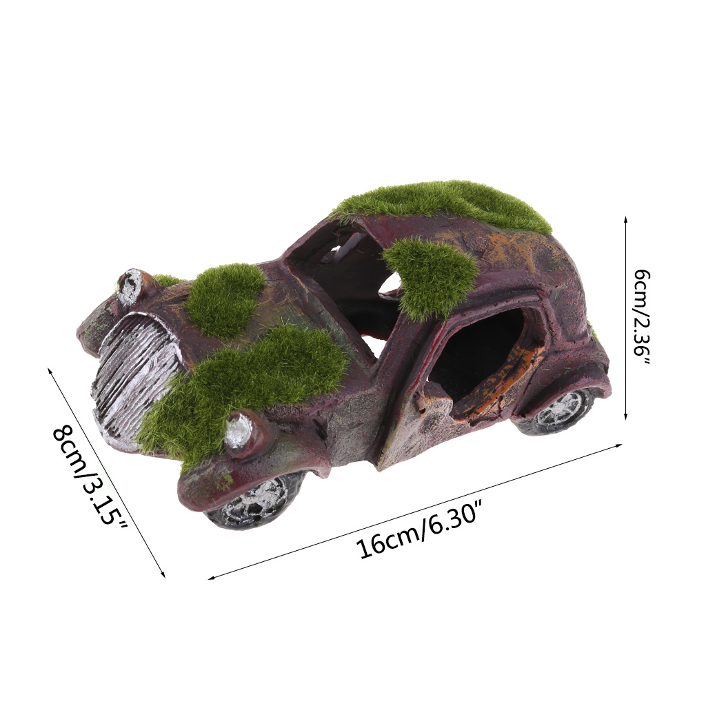 Non-toxic Safe Moss Imitation Antique Car Shape Fish Tank Decoration Ornament Aq