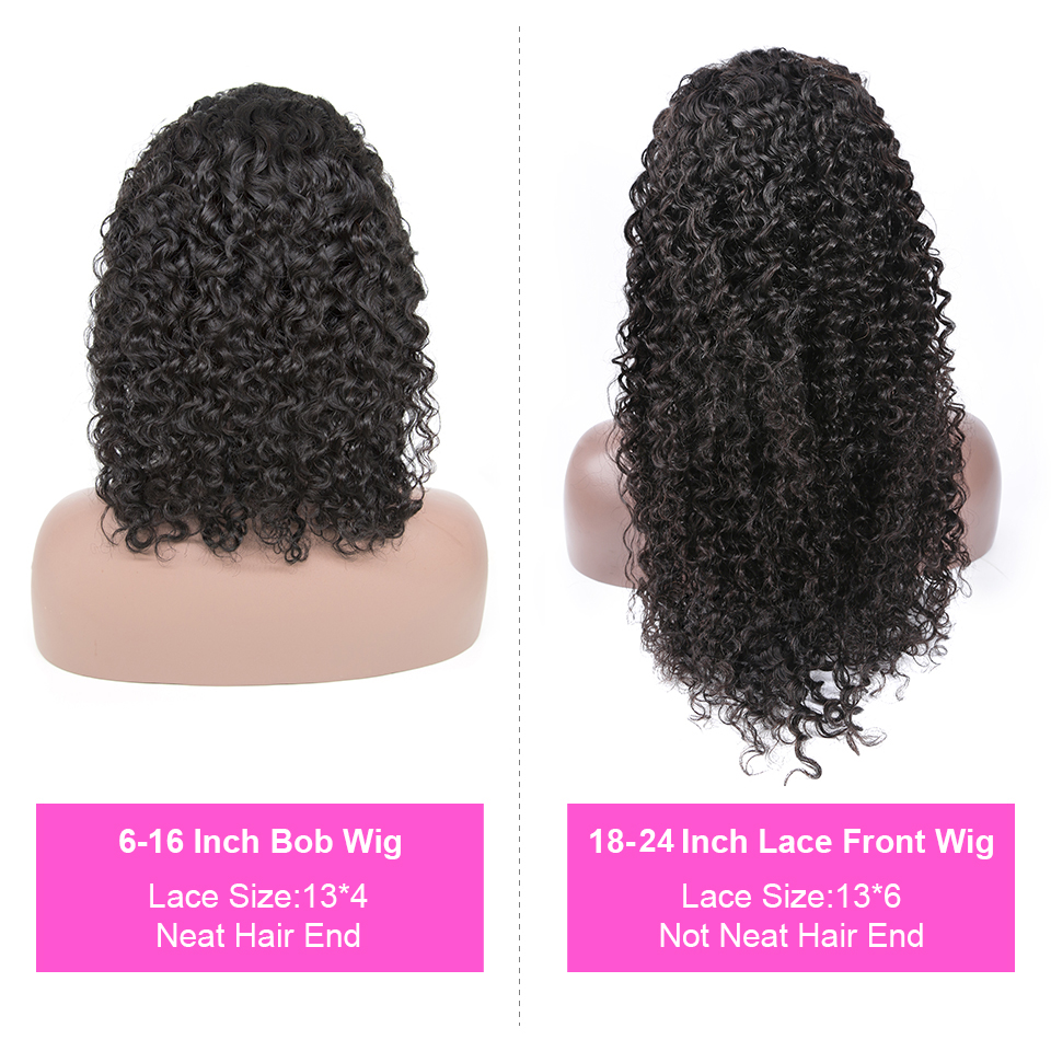 H341843ba02c6490ca4d138d0551a4ee4J Jerry Curly Lace Front Human Hair Wigs With Baby Hair Brazilian Remy Hair Short Curly Wigs For Women Pre-Plucked Wig